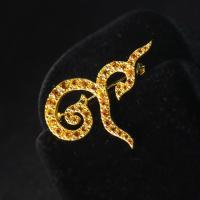 gemstones brooch เข็มกลัดเลขเก้า 9 เข็มกลัดพลอยแท้สีขาว p1-998