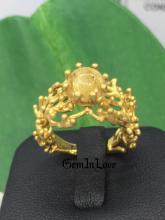 แหวน ไหมทอง ปะการัง rutile quartz รูไลท์ ควอทซ์ หินมงคล หินเสริมดวง หินไหมทอง หินนำโชคลาภ หินเรียกเงินเรียกทอง ring ดูดวง แก้ชง